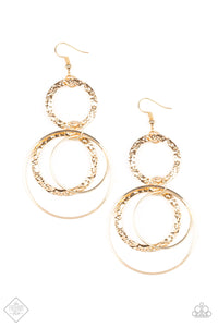 Eclipsed Edge Paparazzi Earrings-Gold