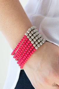 LAYER It On Thick Paparazzi Bracelet-Pink