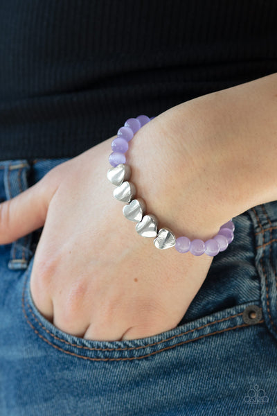Heart-Melting Glow Paparazzi Bracelet-Purple