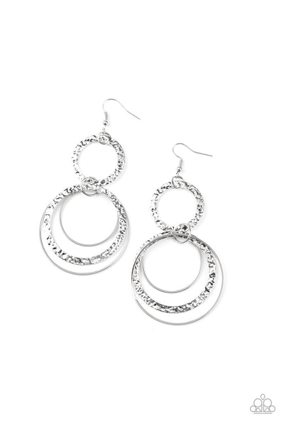Eclipsed Edge Paparazzi Earrings-Silver