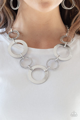 Ringed In Radiance Paparazzi Necklace-Silver