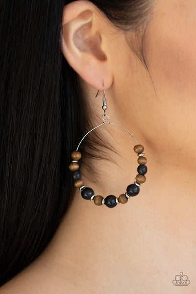 Forestry Fashion Paparazzi Earrings-Black