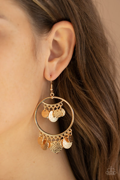 All-CHIME High Paparazzi Earrings-Gold