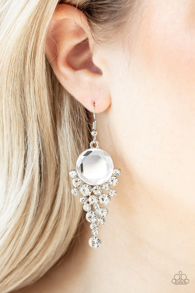 Elegantly Effervescent Paparazzi Earrings-White
