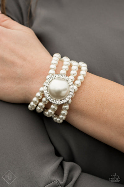 Top Tier Twinkle Paparazzi Bracelet-White