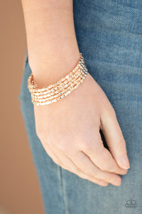Stunningly Stacked Paparazzi Bracelet-Rose Gold