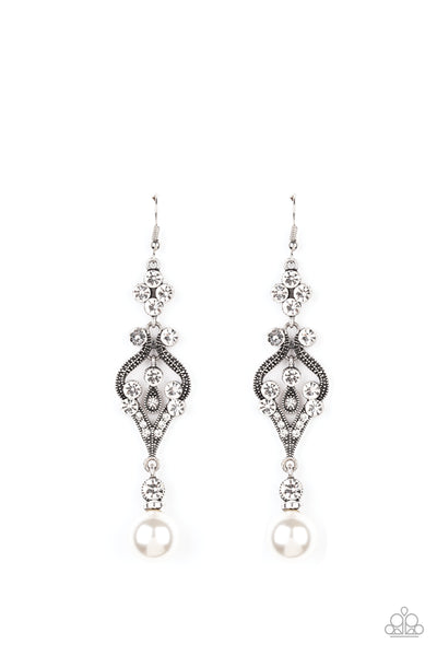Elegantly Extravagant Paparazzi Earrings-White