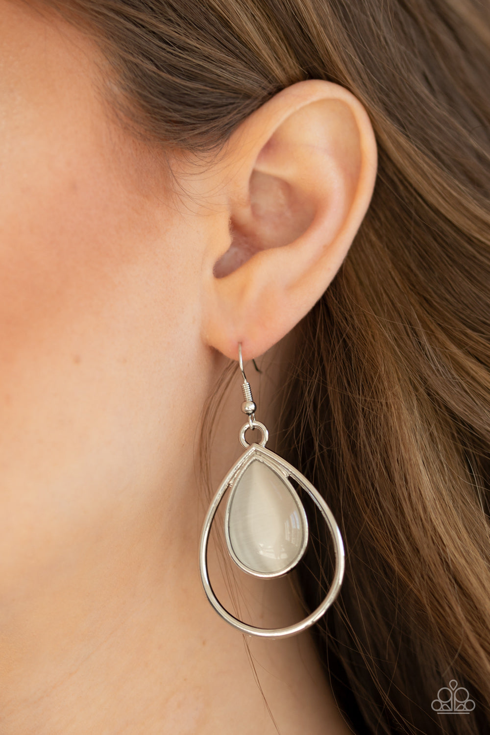 Color Me Cool Paparazzi Earrings-White