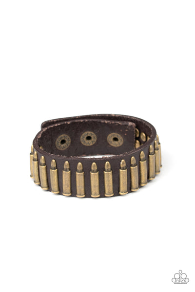 Armed And Dangerous Paparazzi Bracelet-Brass