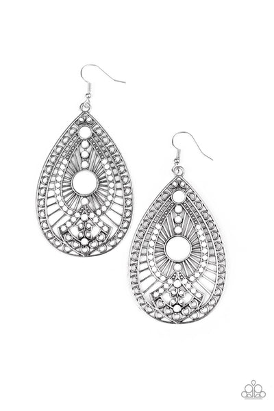 Just Dropping By Paparazzi Earrings-White