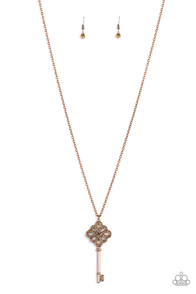 Unlocked Paparazzi Necklace-Copper