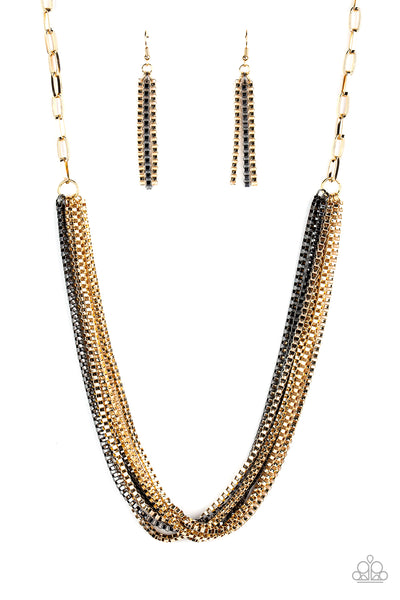 Beat Box Queen Paparazzi Necklace-Gold