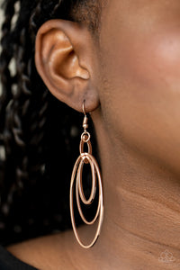 Shimmer Surge Paparazzi Earrings-Rose Gold