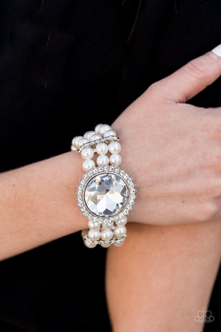 Speechless Sparkle Paparazzi Bracelet-White