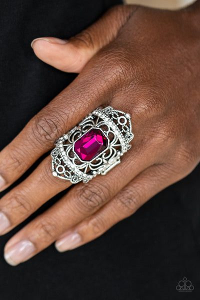 Undefinable Dazzle Paparazzi Ring-Pink