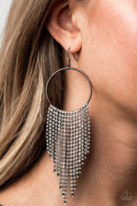 Streamlined Shimmer Paparazzi Earrings-Black