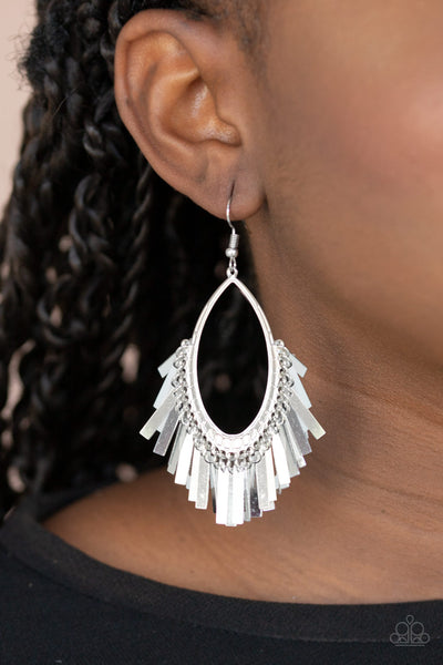 Fine-Tuned Machine Paparazzi Earrings-Silver