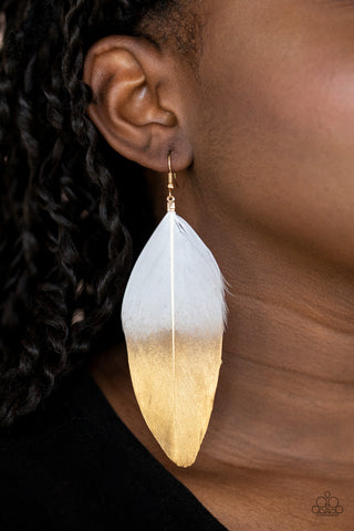 Fleek Feathers Paparazzi Earrings-White