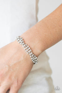 Twists and Turns Paparazzi Bracelet-White
