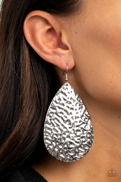 Metallic Mirrors Paparazzi Earrings-Silver