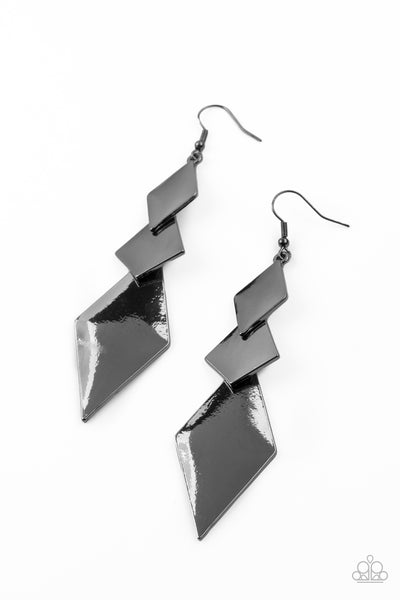 Danger Ahead Paparazzi Earrings-Black