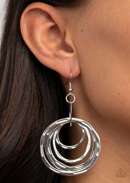 Ringing Radiance Paparazzi Earrings-Silver