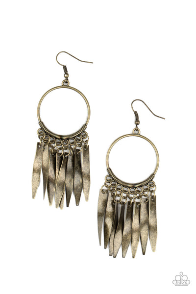 Let GRIT Be! Paparazzi Earrings-Brass