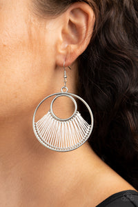 Really High-Strung Paparazzi Earrings-White