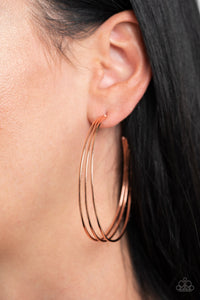 Rimmed Radiance Paparazzi Earrings-Copper