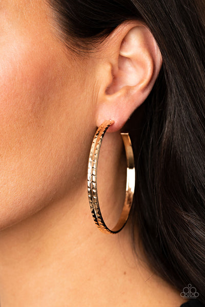 TREAD All About It Paparazzi Earrings-Gold