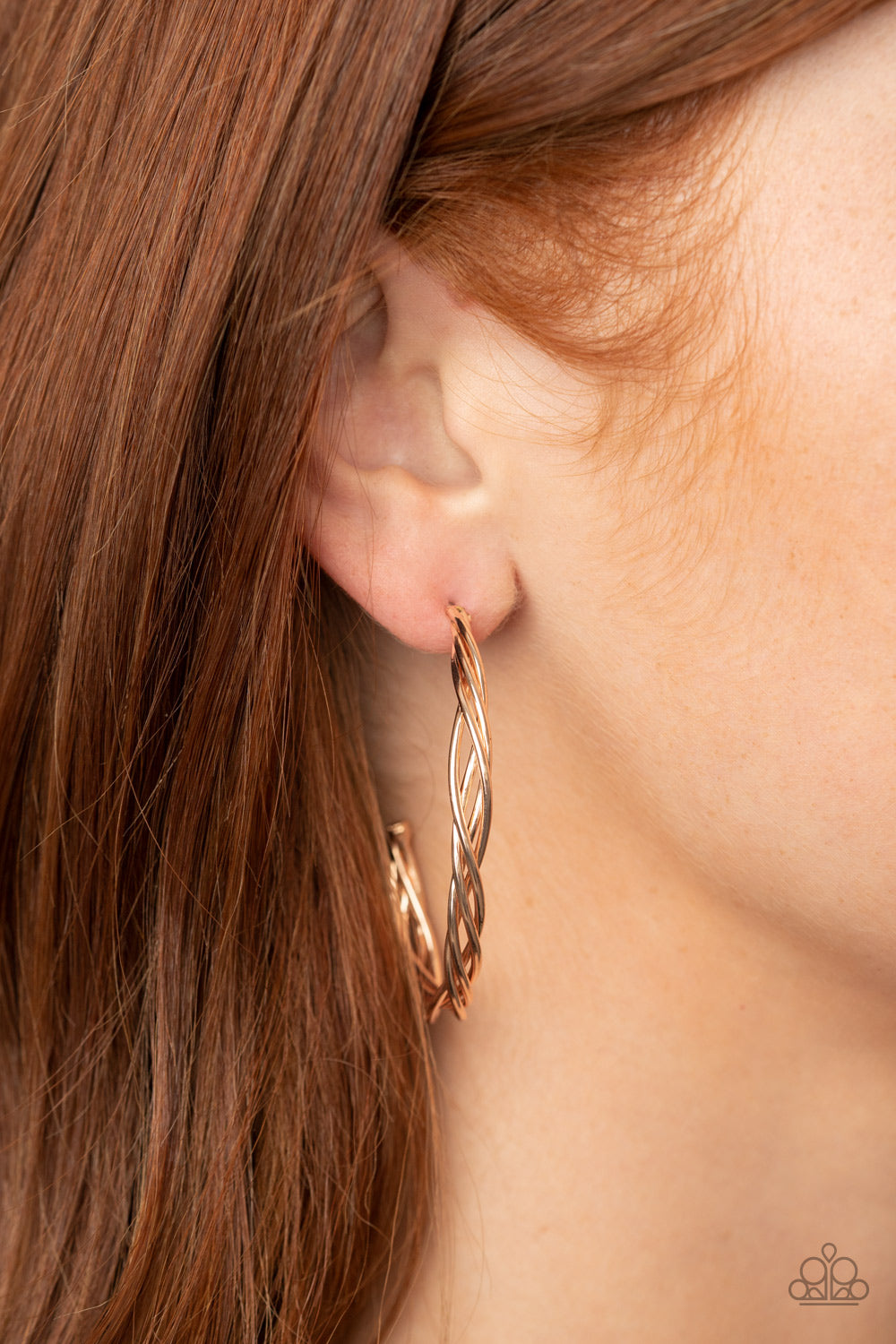 Twisted Tango Paparazzi Earrings-Rose Gold