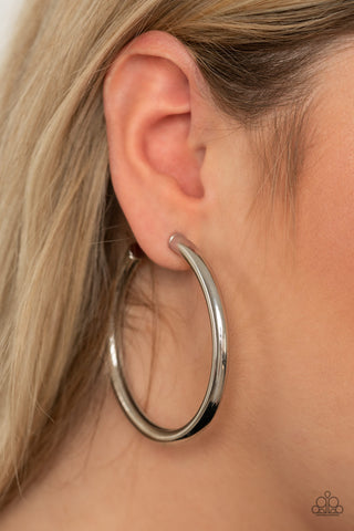 Curve Ball Paparazzi Earrings-Silver