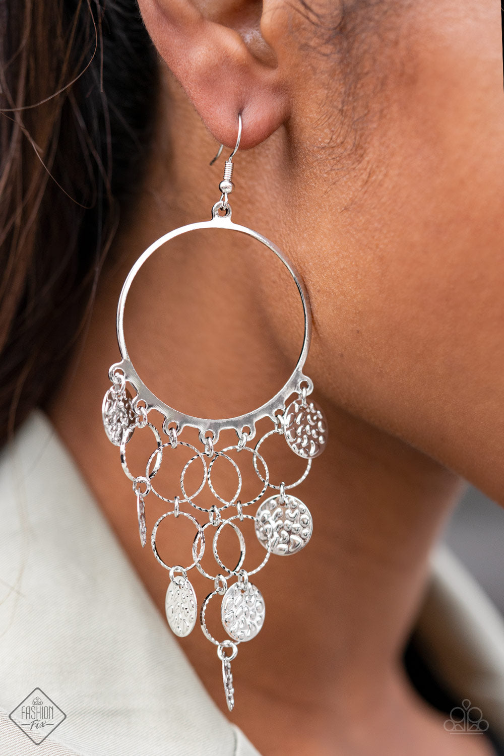 All CHIME High Paparazzi Earrings-Silver