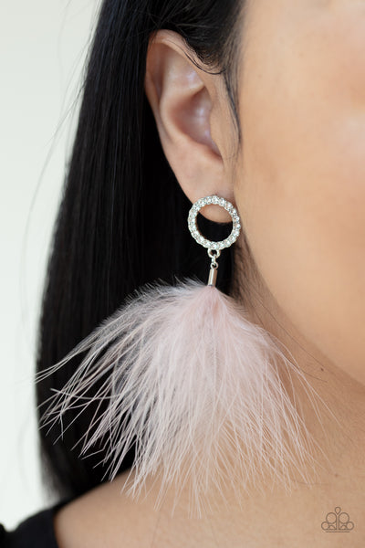 BOA Down Paparazzi Earrings-Pink