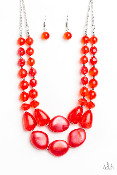 Beach Glam Paparazzi Necklace-Red