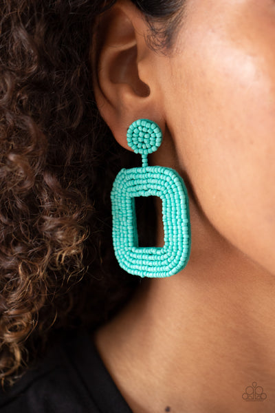 Beaded Bella Paparazzi Earrings-Blue
