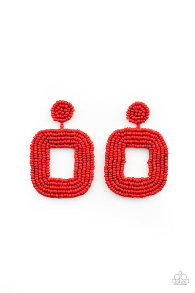 Beaded Bella Paparazzi Earrings-Red