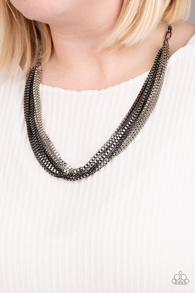 Beat Box Queen Paparazzi Necklace-Black