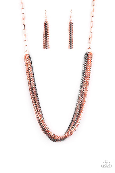 Beat Box Queen Paparazzi Necklace-Copper
