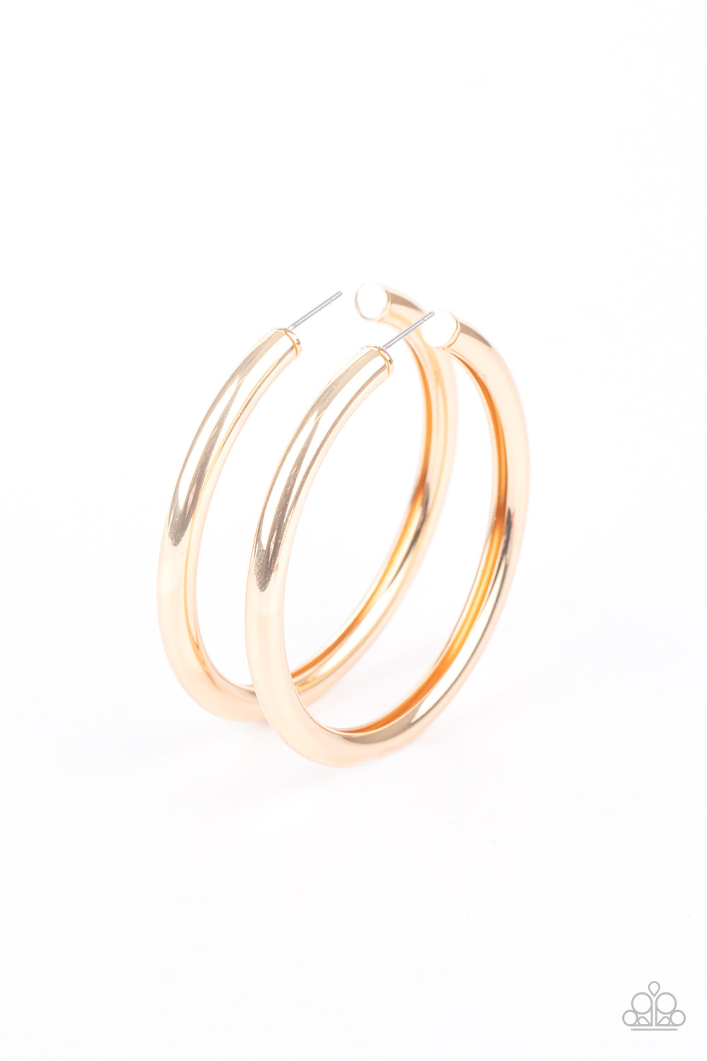 Curve Ball Paparazzi Earrings-Gold