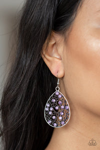 Dazzling Dew Paparazzi Earrings-Purple