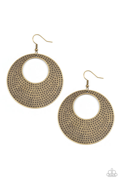 Dotted Delicacy Paparazzi Earrings-Brass