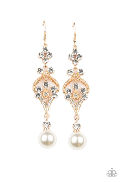 Elegantly Extravagant Paparazzi Earrings-Gold