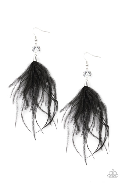 Feathered Flamboyance Paparazzi Earrings-Black