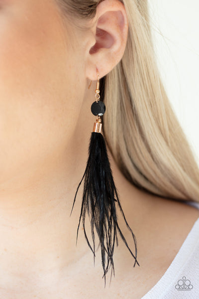 Feathered Flamboyance Paparazzi Earrings-Gold