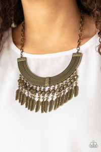 Fierce in Feathers Paparazzi Necklace-Brass