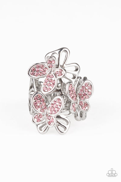 Flighty Flutter Paparazzi Ring-Pink