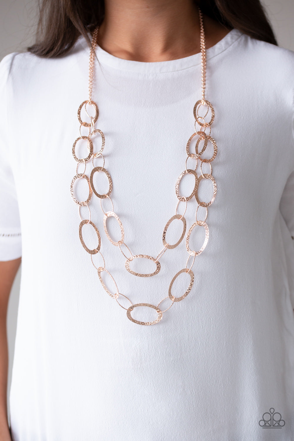 Glimmer Goals Paparazzi Necklace-Rose Gold