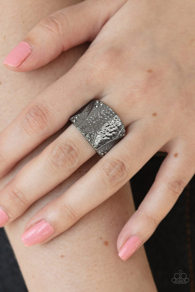 Industrial Indentation Paparazzi Ring-Black