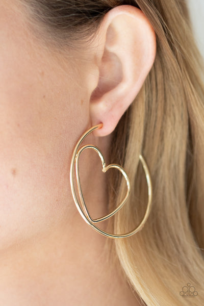 Love At First BRIGHT Paparazzi Earrings-Gold